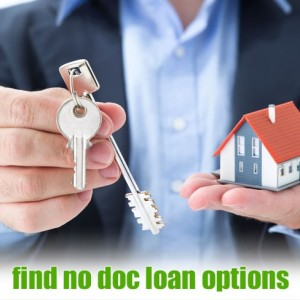 "man with key and miniature house in hands overlaid with the text, ""find no doc loan options"""